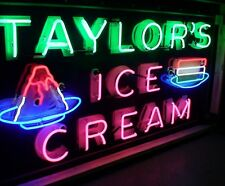 1940's Porcelain neon Taylors ice Cream sign for diner, parlor, auto museum..OLD