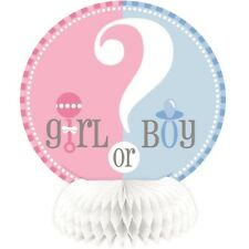 Gender Reveal Baby Shower 4 X Honeycomb Decorations