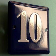 HAUSNUMMER 10 = Altes Emailschild um 1955 PERFEKT Eingang Haustür Türschild FETT