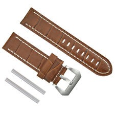 BIG 24MM LEATHER WATCH BAND STRAP FOR BREITLING COLT L/BROWN  WS BRUSH BUCKLE