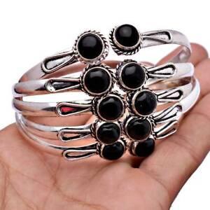 Black Onyx 1 Piece Gemstone 925 Sterling Silver Plated Cuff Bracelet BN-20-142