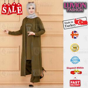 NEW WOMEN LADIES 3 PIECE DRESS TURKISH ISLAMIC HIJABI HIGH QUALITY MULTI COLOURS