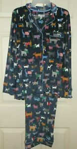 New Womens XL 16-18 Velour Pajamas Dogs! Blue Secret Treasures 2 Siece Set