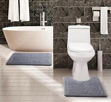 Hig 2 Piece Set Memory Foam Bath Mat - Black Gray Burgundy Cobble Bathroom Rugs