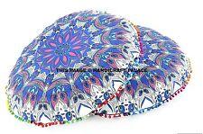"Pair Round Feather Mandala Floor Pillows 32"" Indian Ottoman Poufs Throw Cushion"