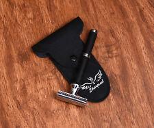 Genuine Men Safety Razor Double Edge Razors +10 Free Blades & Pouch travel kit