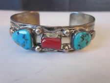 Old Pawn Emerson Thompson Navajo Sterling Silver Bracelet w Turquoise & Coral