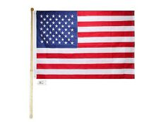 5 Ft Wooden Flag Pole Kit Wall Mount Bracket 3x5 Embroidered Usa American Flag