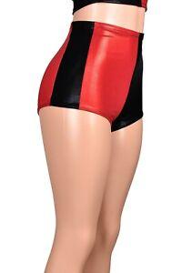 Red Black Metallic Side Panel Booty Shorts Harley Quinn XS S M L XL 2XL 3XL plus