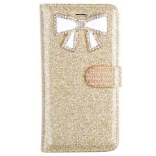 For Iphone 5C  Bling Glitter Case W/Bow and Credit Card Wallet Case GLD