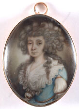 """Portrait of a young lady"", high quality English (American?) miniature, 1780s"