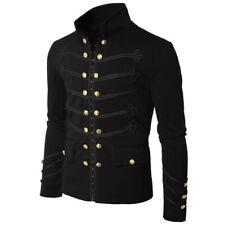 Gothic Steampunk Black/Grey Parade Military Marching Band Jacket Goth Punk Mens