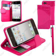 Housse Etui Coque Portefeuille Simili Crocodile Rose Apple iPhone SE 5S 5+Stylet