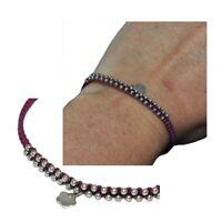 Bracelet fin en argent massif 925 et cordon violet tissé breloque coeur bijou
