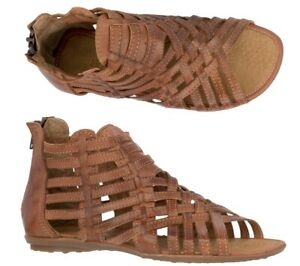 Womens Cognac Real Leather Mexican Huaraches Gladiator Zip Up Boho Sandals