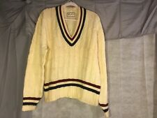 BRENTWOOD 100% Wool Vintage 1940's 1950's college V-Neck Pullover Sweater Mens
