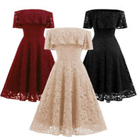Women Off Shoulder Lace Flare Sleeve Cocktail Party A-Line Strap Ball Gown Dress