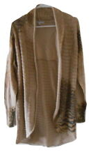 Alberto Makali Tan Leopard Print Long Open Cardigan Sweater Szie L