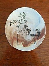 Lauretta Bonfiglio, Montana Studio Art Pottery Plate Dish Signed Pressed Flowers