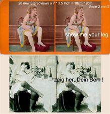 Montre-moi ta jambe! 20 érotiques stéréo photos semi NUDE de 1860 - 1900, Lot 2