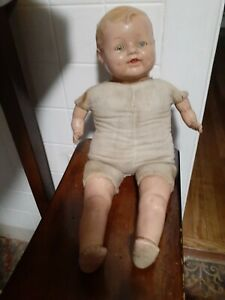 Vintage Composition Cloth Baby Doll Painted Teeth Sleep Eyes Dimples 19""