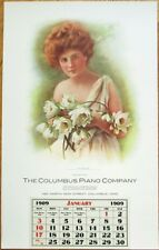Columbus Piano Co. 1909 Large Advertising Poster/Calendar - Ohio OH