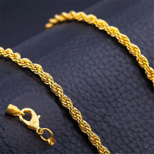 """Twist Link Chain Cool Necklace Jewelry 20"""" 6mm Stainless Steel 18k Gold Filled"""