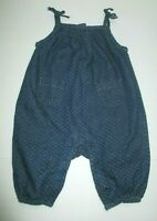 INFANT GIRLS BABY GAP BLUE DENIM WHITE STITCH OVERALLS OUTFIT SIZE 3-6 MONTHS
