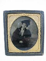 Schöne alte Daguerreotypie / Fotografie 19. Jhdt. Halbetui  9,8 x 8,6 cm   08452