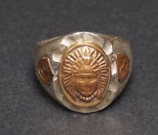 Vintage Mexican Men's Indian Chief Silver Metal Bronze Biker's Ring
