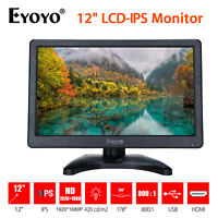 "Eyoyo 12"" LCD IPS Monitor Display Audio HDMI/VGA/AV In Camera PC DVD Raspberry"