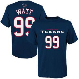 J J WATT HOUSTON TEXANS OFFICIAL NFL YOUTH BLUE MAINLINER NAME & NUMBER SHIRT