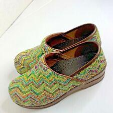 """Sanita Womens sz 36 6 Tapestry Shoes Slip On Mule Clops 2"""" Heel"""