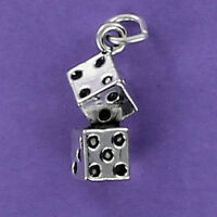 Pair of Dice Charm 925 Sterling Silver for Bracelet Gambling Lucky Craps Casino