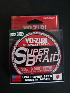 YO-ZURI SUPERBRAID Dark Green Fishing Line 20lb 150yd R1258-DG Super Braid