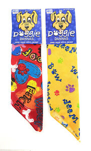 2x Doggie Dannas Dog Bandana - One Size Fits Most Dogs - Red / Yellow - New