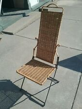 Vintage Folding Wicker Chair with Metal Frame
