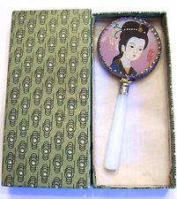 Vintage Jade Geisha Girl Hand Mirror