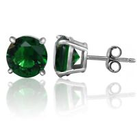 925 Sterling Silver Round Green Emerald Solitaire Stud Earrings