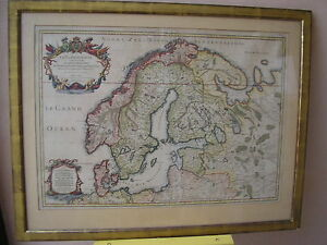 CARTE SCANDINAVIE DANEMARK NORVEGE SUEDE par SANSON JAILLOT carte ancienne 1757
