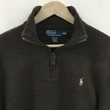Mens Medium RALPH LAUREN 1/4 Zip Sweater Brown -SUPERB- 1c