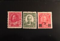 Stamps Canada Sc184 & Sc190-Sc191 MNH KGV Provisional issues. See description