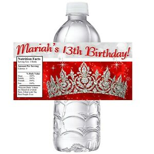 20 PRINCESS CROWN TIARA RED SILVER BIRTHDAY PARTY FAVORS ~ WATER BOTTLE LABELS