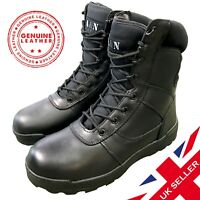 Black ALL Leather Security Patrol Combat Boots Tactical Footwear Doorman Airsoft