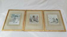 Antique Vintage Artwork Victorian Mid Century Prints Framed - Set of 3 - 35x27cm