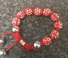Shamballa Bracelet Red Crystal Beads 12mm Alloy On Red Rope, Valentines Gift