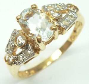 SYJEWELLERY 9CT SOLID YELLOW GOLD NATURAL AQUAMARINE & DIAMOND RING SIZE N R1136