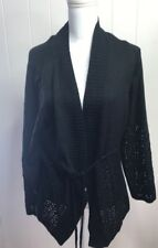 NWT Lane Bryant Black Tie Front Lacy Cardigan Size 22/24