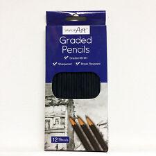 12 Graded Sketching Artist Pencils Set Charcoal Drawing Fine Art Craft UK Seller