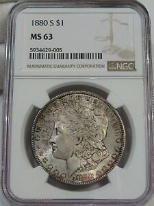 BU 1880-s Morgan Dollar NGC MS63 - Rev Half Moon Toning.  #2